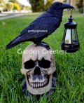 picture of SOLAR LARGE BLACK CROW RAVEN ON SKULL STATUE FIGURINE WITH SOLAR