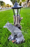 picture of SOLAR WOLF STATUE WOLF SOLAR FIGURINE