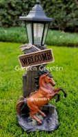 picture of HORSE COWBOY WITH SOLAR LIGHT STATUE SOLAR HORSE COWBOY FIGURINE