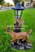 picture of SOLAR DEER STATUE FIGURINE DEER WHITE TAIL