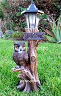 picture of OWL WITH SOLAR LIGHT STATUE SOLAR OWL LANTERN FIGURINE