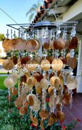 picture of SOLAR CAPIZ SHELL WINDCHIMES/CHANDELIER AMBER/GOLD CAPIZ CHIMES-