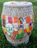 picture of MOSAIC GARDEN STOOL MOSAIC PLANT STAND