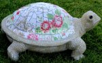 picture of LARGE MOSAIC TURTLE STATUE TURTLE MOSAIC-bt