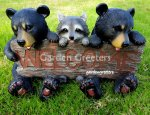 picture of BEAR CUB RACCOON STATUE WELCOME BEAR RACCOON