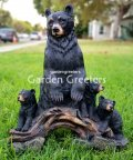 picture of BEAR CUB FAMILY STATUE BEAR FIGURINE