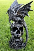 picture of DRAGON ON SKULL STATUE DRAGON FIGURINE