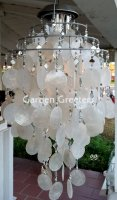 picture of SOLAR CAPIZ SHELL WINDCHIMES/CHANDELIER WHITE CAPIZ CHIMES