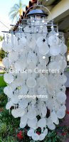 picture of SOLAR CAPIZ SHELL WINDCHIMES/CHANDELIER white CAPIZ CHIME