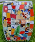 picture of MOSAIC GARDEN STOOL MOSAIC PLANT STAND-grsq