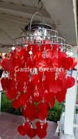 picture of SOLAR CAPIZ SHELL WINDCHIMES/CHANDELIER RED HEART CAPIZ CHIMES