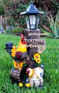 picture of ROOSTER HEN WITH SOLAR LIGHT STATUE SOLAR ROOSTER HEN FIGURINE