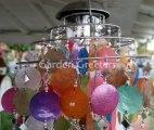 picture of SOLAR CAPIZ SHELL WINDCHIMES/CHANDELIER MIXED COLORS CAPIZ