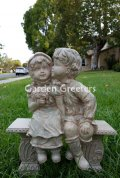 picture of BOY AND GIRL ON BENCH STATUE - GREY/GREEN
