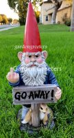 picture of GARDEN STATUE GNOME, GNOME WITH MIDDLE FINGER , GNOME FIGURINE