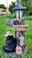 picture of BEAR RACOON WITH SOLAR LIGHT STATUE SOLAR BEAR RACOON LANTERN FI